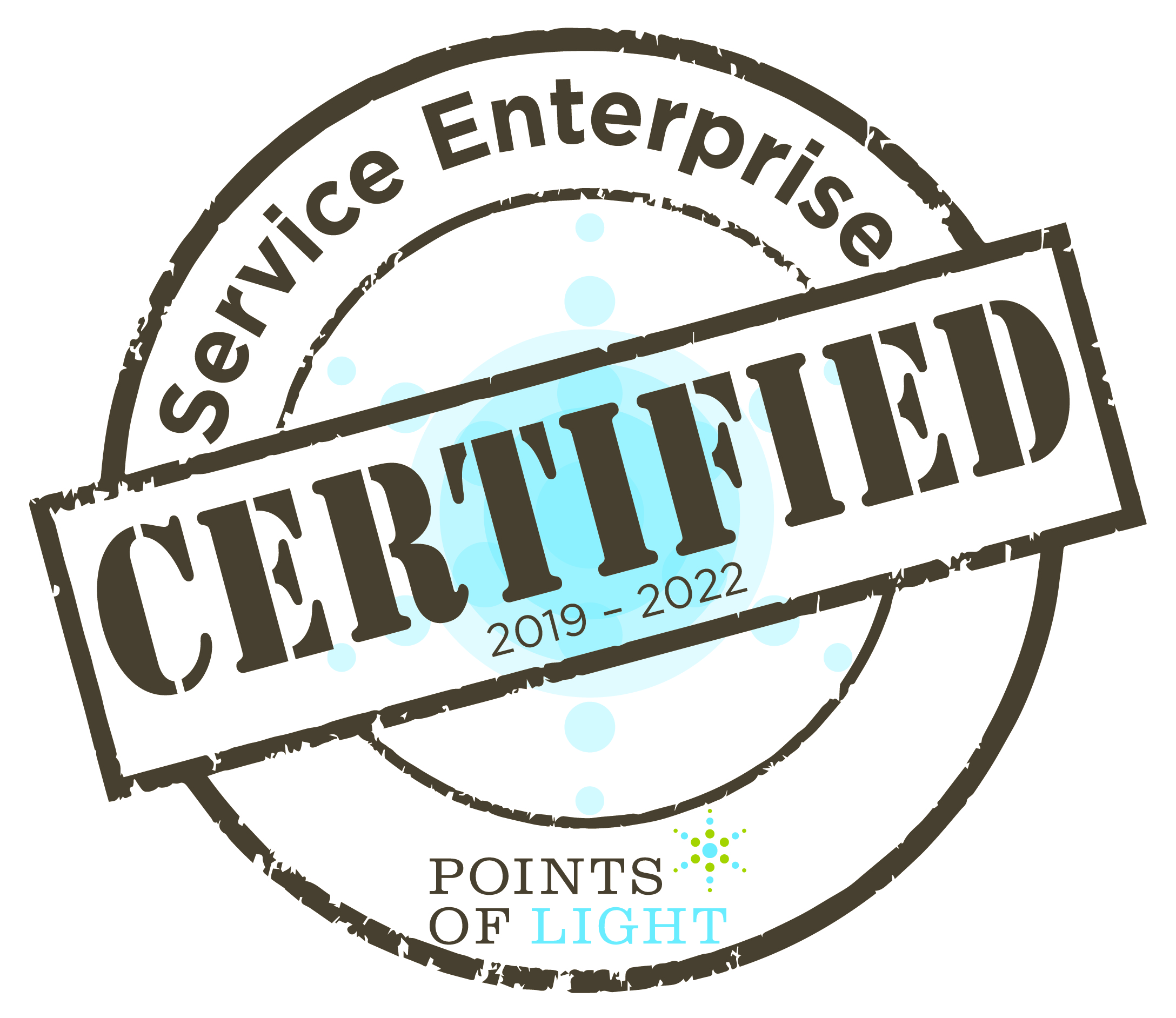 Service Enterprise Certification  Seal proclaims the Iowa Department for the Blind is a Points of Light Certified Service Enterprise
