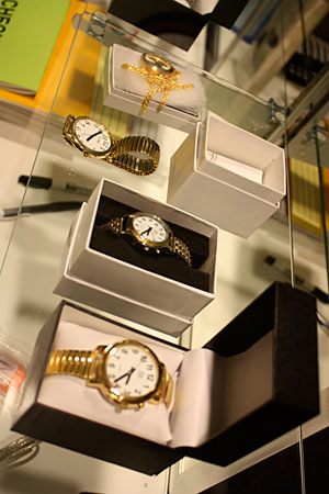 A display of Braille watches in the Aids & Devices Store is pictured.