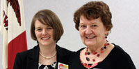 Library director Sarah Willeford and Marilyn Garvey, dedicated volunteer with the Friends of the ILBPH