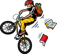 A boy on a bicycle performs a wheelie stunt as books tumble from his backpack.