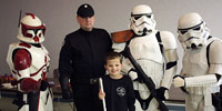 Braille Challenge contestant Zach Nolin poses with members of the Central Garrison of the 501st Legion.